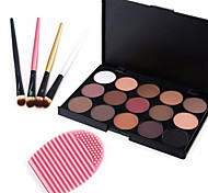 15 Colors 2in1 Matte&Shimmer Smoky Eyeshadow/Eyebrow Powder Cosmetic Palette+4PCS Eyeshadow Brush+1 Brush Egg