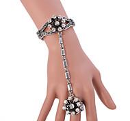 Vintage Antique Silver full Crystal Rhinestone Adjustable Ring Bracelet for Wedding Party Dance