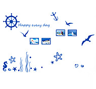 Blue Ocean Anchor With Rudder Happy Every Day Wall Stickers PVC Sea Horse Wall Decals DIY Removable