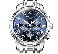 cheap -Carnival Men's Sport Watch Skeleton Watch Mechanical Watch Automatic self-winding Stainless Steel White 30 m Hollow Engraving Noctilucent Moon Phase Analog Classic Casual Fashion Dress Watch - Blue
