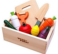 cheap -Magnetic Wooden Fruit And Vegetables Cut Food Baby Play House Toys