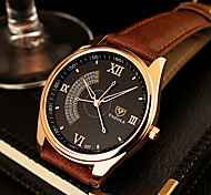 YAZOLE Men's Dress Watch Quartz Casual Watch Leather Band Black Brown