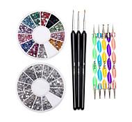 12 colores de uñas que salpican las piedras preciosas de la rueda juego de la pluma&sistema de cepillo