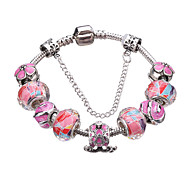 cheap -Women's Silver Plated Adorable Cross Charm Bracelet Strand Bracelet - Fashion Durable Beaded Geometric Red Blue Pink Bracelet For Party