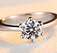 Women's Band Rings Classic Casual Fashion Silver Sterling Silver Zircon Cubic Zirconia Imitation Diamond Six Prongs Jewelry For Wedding