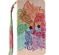 Painted Colorful Flowers Pattern Card Can Lanyard PU Phone Case For Samsung Galaxy A3 A5 (2016)
