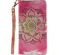 Painted Pink Flowers Pattern Card Can Lanyard PU Phone Case For Huawei P9 Lite P9 P8 Lite
