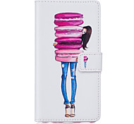 PU Leather Material Cake Girl Pattern Phone Case for iPhone 6s Plus / 6 Plus/6S/6/SE / 5s / 5