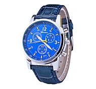 Men's Dress Watch / Swiss Designer Quartz Leather Band Casual Black Blue Brown