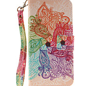 Painted Colorful Flowers Pattern Card Can Lanyard PU Phone Case For Samsung GalaxyS5 S6  S7 edge Plus
