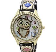 cheap -Women's Quartz Wrist Watch / Imitation Diamond PU Band Casual Owl Fashion Cool Black White Blue Red Brown Pink Rose