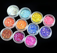 1 Set Nail Art Colorful Match Color Highlight Glitter Shining Powder Nail Makeup Beauty 01-11
