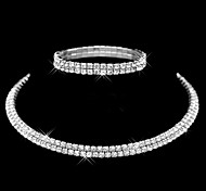 cheap -Women's Imitation Diamond Jewelry Set - Fashion / Double-layer / Stretch Circle Silver Jewelry Set / Bracelet / Band Ring For Wedding /