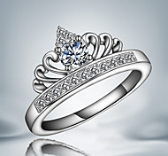 """Queen Personality  """"Crown"""" Sterling Silver Zircon Party Band Ring For Women 2016"""