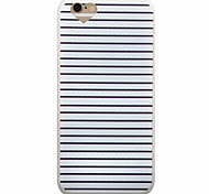 Black And White Horizontal Stripes Pattern Frosted Heart-Shaped Mouth TPU Soft Phone Case for iPhone 6/6S/6Plus/6SPlus