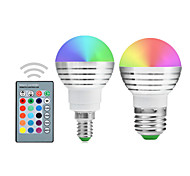 YWXLight® E14 E27 LED Globe Bulbs A50 1 Integrate LED RGB Dimmable Remote-Controlled Decorative AC 85-265V