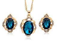 abordables -Mujer Cristal Cristal Zirconio Conjunto de joyas 1 Collar Pendientes - Asiático Moda Forma Geométrica Juego de Joyas Para Oficina y