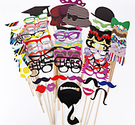 76 Pcs/Set Diy Wedding Souvenirs Photo Props With A Bamboo Stick Booth Props Mustache Decoration