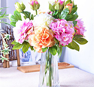 Недорогие -1 Филиал Полиэстер Пластик Пионы Букеты на стол Искусственные Цветы