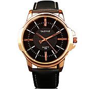 358 YAZOLE Fashion Men's Business Dress Watch Leather Strap Blue Ray Glass Analog Quartz Wrist Watches
