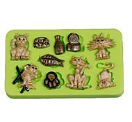 Oeufs de chats morceaux de gâteau mouchoir fondant silicone outils sugarcraft argile polymère fimo fabrication couleur aléatoire