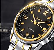 BOSCK® Men's  Automatic Mechanical Hollow Dial Luminous Calendar Gold Steel Band Wrist Watch