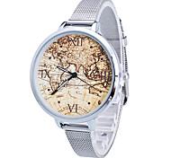 Mulheres Infantil Relógio de Moda Quartzo / Aço Inoxidável Banda Leopardo Padrão Mapa do Mundo Dourada Prata