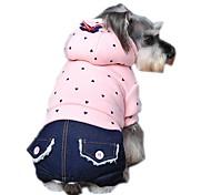 Недорогие -Собака Толстовки Комбинезоны Одежда для собак На каждый день Мода В горошек Лиловый Зеленый Розовый Костюм Для домашних животных