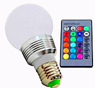 3W E26/E27 Ampoules LED Intelligentes A60(A19) 1 LED Haute Puissance 80 lm RVB / K Intensité Réglable Commandée à Distance AC 85-265 V