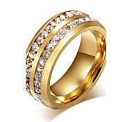 Unisex Fashion 316L Titanium Steel Double Row Rhinestone Band Rings Party/Casual/Daily Women Men Accessories
