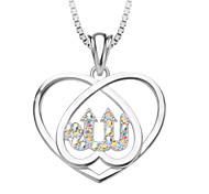 Fashion Jewelry Heart Allah Zirconia  Jewelry Bride Pendant & Necklace 18K Platinum Plated  Women Gift P30134-w