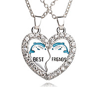cheap -New Arrival Best Friends Broken Heart Dolphin Pendants & Necklaces Rhinestone Necklace Gift For Friends Jewelry
