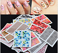 cheap -50pcs Nail Jewelry 3D Nail Stickers Nail Stamping Template Daily Flower Fashion High Quality