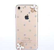 Handmade Rhinestone White Flowers Pattern PC Hard Case for iPhone 7 7 Plus 6s 6 Plus SE 5s 5 4s 4