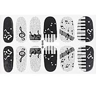 Fashion Piano Note Music Style Glitter Silver and Black Nail Decal Art Sticker Gel Polish Manicure