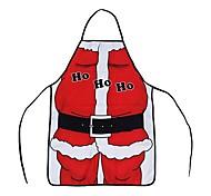 Unisex Christmas Xmas Theme Christmas Ornament Santa Claus Apron Red