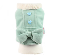 Dog Coat Dog Clothes Cute Keep Warm Bowknot Green Pink Costume For Pets