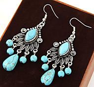 Women's European Style Retro Fashion Foliage Turquoise Drop Earrings