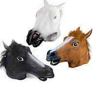 cheap -Halloween Novelty Creepy Rubber Animal Mane Horse Head Mask Head Halloween Masquerade Cosplay Mask Party Costume Prop