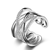 Women's Band Rings Knuckle Ring Crystal Imitation Diamond Unique Design Love Fashion Crossover Costume Jewelry Rose Gold Sterling Silver
