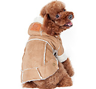 cheap -Dog Coat Hoodie Dog Clothes Solid Colored Coffee Wine Dark Brown Cotton Costume For Pets Men's Women's Keep Warm Fashion