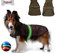Dog Rain Coat Vest Dog Clothes LED Waterproof Solid Black Brown Blue Costume For Pets