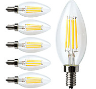 E14 LED Filament Bulbs C35 4 leds COB Decorative Dimmable Warm White 400lm 2700K AC 220-240V