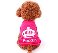 Коты Собаки Футболка Одежда для собак Лето Весна/осень Тиары и короны На каждый день Розовый