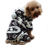 Dog Hoodie Jumpsuit Pajamas Dog Clothes Cute Keep Warm Reindeer Gray Coffee Blue Pink Costume For Pets