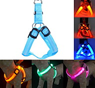 Dog Harness Leash Training Safety Lights LED Lights Adjustable / Retractable Solid Nylon Yellow Green Blue Pink Dark Red