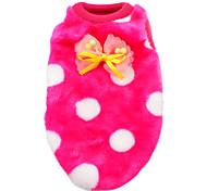 abordables -Chat Chien Tee-shirt Pyjamas Vêtements pour Chien Points Polka Rouge Rose Bleu Rose Blanc/Noir Velours côtelé Costume Pour les animaux