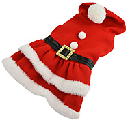 Dog Costume Dress Dog Clothes Cosplay Christmas Solid Red Costume For Pets
