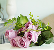 9 Heads Rose water plants Tie-in Bouquet Artificial Flower