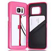 For Samsung Galaxy S7 Edge S7 High Quality Luxury Lady Make Up 3D Dual Layer Card Slot Wallet Mirror Case Cover